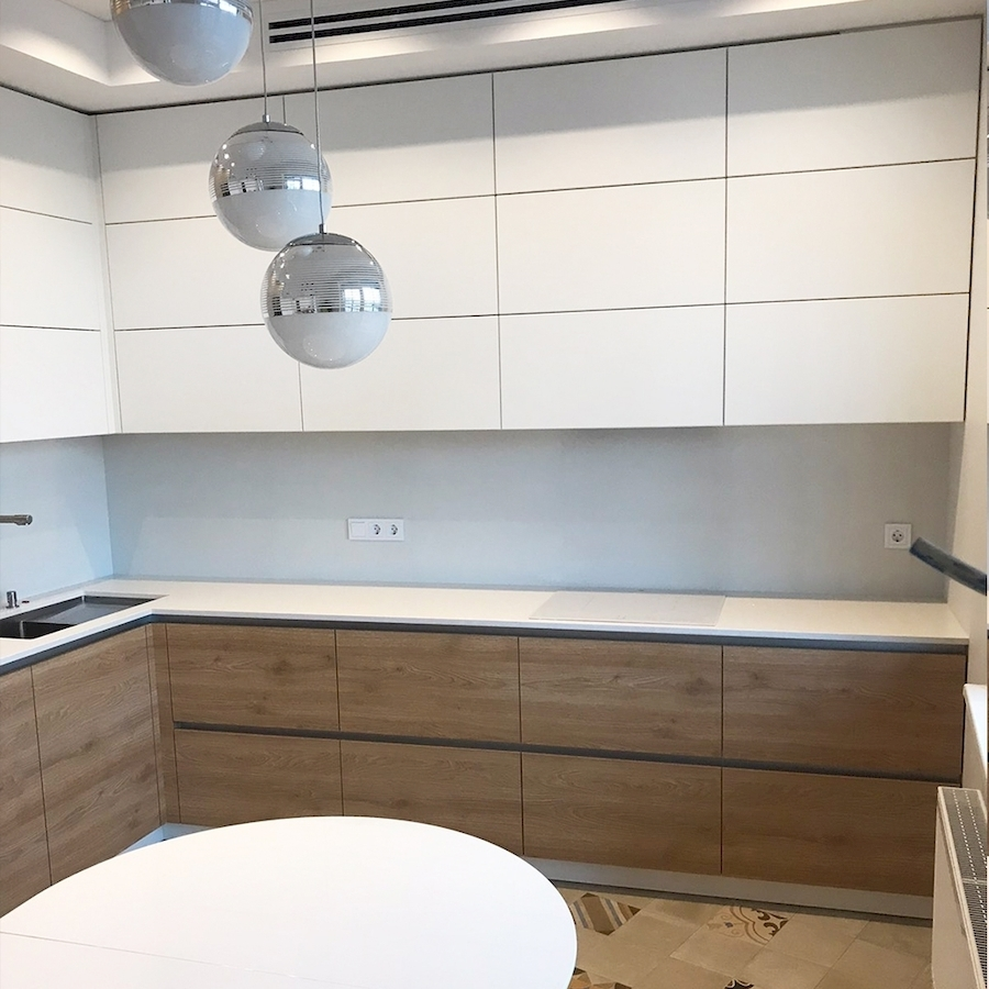 Белый кухонный гарнитур-Кухня из пластика «Модель 595»-фото2